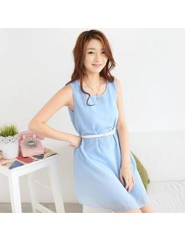 sleeveless-chiffon-dress-with-belt by 59-seconds