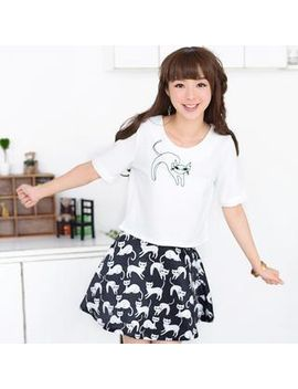 set:-cat-embroidered-cropped-top-+-cat-print-a-line-skirt by brand-from-hong-kong