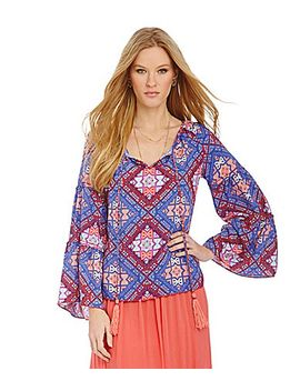 chelsea-&-violet-printed-bell-shaped-sleeve-woven-blouse by generic