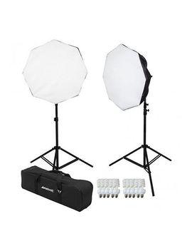 westcott-2-light-d5-daylight-octabox-kit-with-case,-2x-d5-5-socket-light-head,-10x-fluorescent-lamp,-2x-power-cord,-2x-octabox,-2x-65-light-stand by westcott