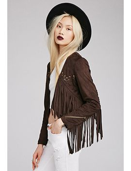 faux-suede-fringe-jacket by forever-21