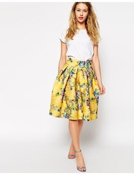 asos-premium-bonded-lace-skirt-in-floral-print by asos-collection