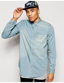 river-island-longline-denim-shirt-with-grandad-collar by river-island