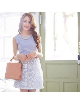 tokyo-fashion---faux-pearl-lace-sleeveless-dress by tokyo-fashion