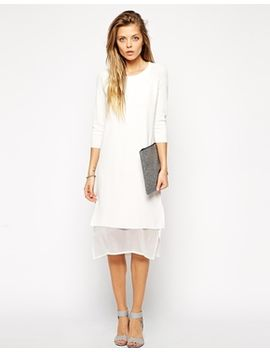 asos-dress-in-structured-knit-with-stepped-chiffon-hem by asos-collection