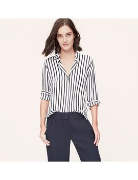 petite-striped-utility-blouse by loft