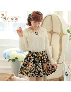 set:-lace-panel-long-sleeve-top-+-floral-skirt by brand-from-china