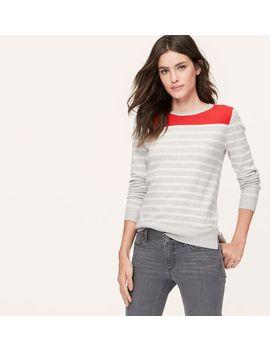petite-stripeblock-sweater by loft