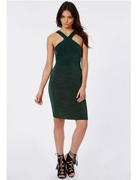 karen-slinky-double-strap-midi-dress-green by missguided