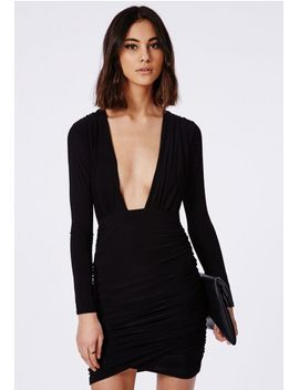 slinky-plunge-bodycon-dress-black by missguided