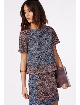 contrast-paisley-floral-print-shell-top-navy by missguided