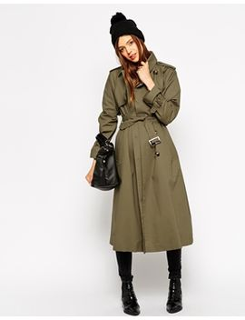 asos-trench-with-raglan-sleeve-in-midi-length by asos-collection