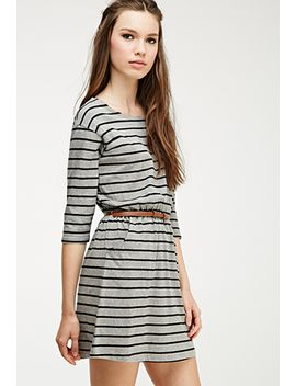 stripe-print-belted-dress by forever-21