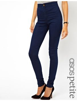 asos-petite-rivington-high-waist-denim-jeggings-in-indigo by asos-petite