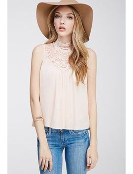 crochet-trimmed-high-neck-top by forever-21