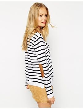 asos-sweater-in-stripe-with-tan-suedette-elbow-patch by asos-collection