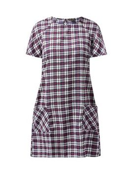 blue-check-print-double-pocket-front-tunic-dress by new-look
