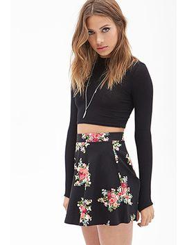 clustered-floral-print-skater-skirt by forever-21