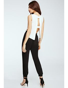 caged-back-chiffon-jumpsuit by forever-21