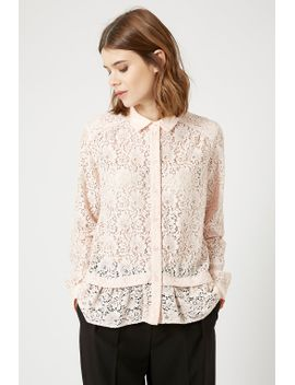lace-peplum-shirt by topshop