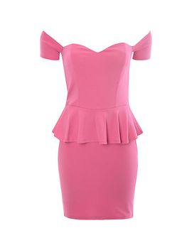 true-decadence-bardot-peplum-dress,-pink by true-decadence