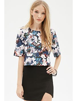watercolor-floral-scuba-knit-top by forever-21