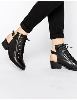 to-be-announced-hijack-cut-out-lace-up-ankle-boots by shoes