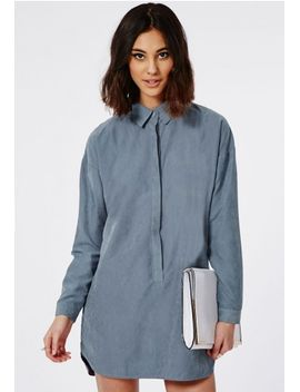 peached-long-sleeve-shirt-dress-blue by missguided