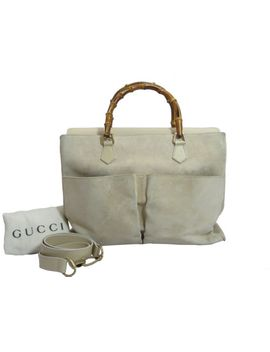 auth-gucci--beige--suede+-leather-trim-bamboo-handle-satchel-bag--e-8541 by ebay-seller