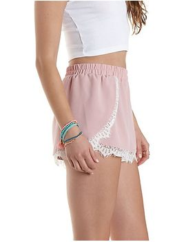 lace-trim-high-waisted-shorts by charlotte-russe
