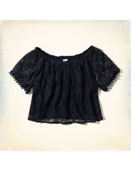 arrow-point-off-the-shoulder-crop-top by hollister