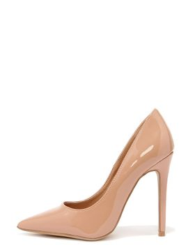 aisle-be-waiting-taupe-blush-patent-pointed-pumps by lulus