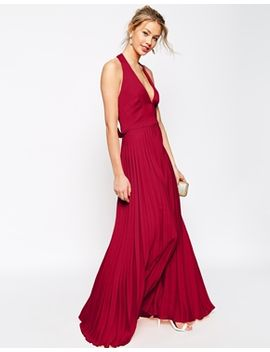 asos-pleat-deep-plunge-maxi-dress by asos-collection