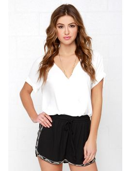 bead-by-example-black-beaded-shorts by lulus