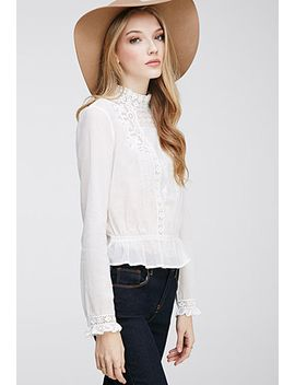 embroidered-high-neck-blouse by forever-21