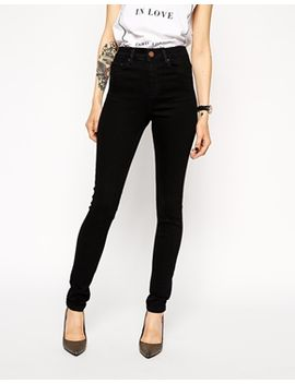 asos-ridley-high-waist-skinny-jeans-in-clean-black by asos-collection