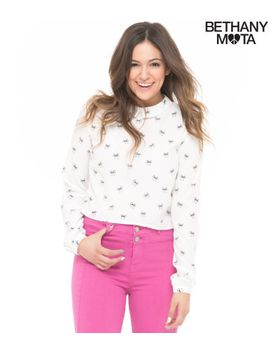 long-sleeve-bow-crop-woven-top by aeropostale