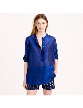 collarless-popover-shirt-in-metallic-voile by jcrew