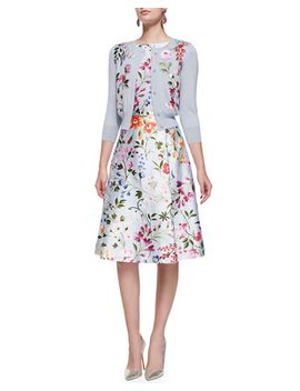 3_4-sleeve-floral-embroidered-cardigan-&-floral-a-line-dress-with-self-belt by oscar-de-la-renta