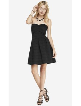 black-elastic-fit-and-flare-dress by express