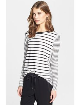 mixed-stripe-long-sleeve-crewneck-top by vince