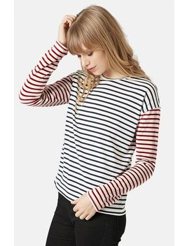 mixed-stripe-long-sleeve-top by topshop