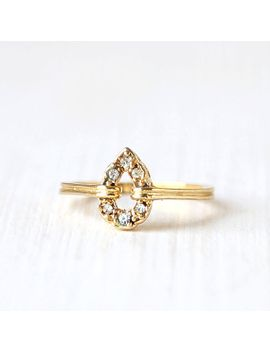 vibrant-vintage-gold-crystal-teardrop-engagement-ring--__-size-65--__-everyday-gold-jewelry by lostintheattic
