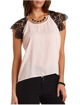 lace-&-chiffon-high-low-tee by charlotte-russe