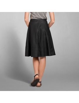 elsie-vegan-leather-midi-skirt by abercrombie-&-fitch