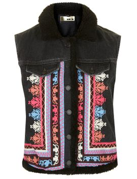 moto-embroidered-borg-gilet by topshop