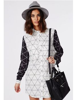 contrast-grid-print-shirt-dress-white-_-black by missguided