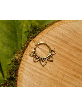brass-septum-ring-12mm-16g,-tribal-lotus-tragus-cartilage-gold-hoop-wire-pierced-nose by spectrumdesignsuk