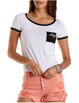 mermaid-embroidered-ringer-pocket-tee by charlotte-russe