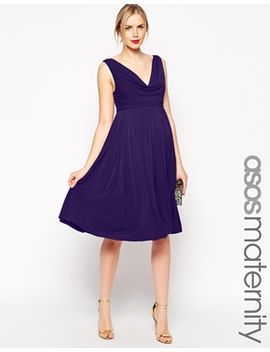 asos-maternity-wedding-pleated-midi-dress-with-drape-cowl-neck by asos-maternity